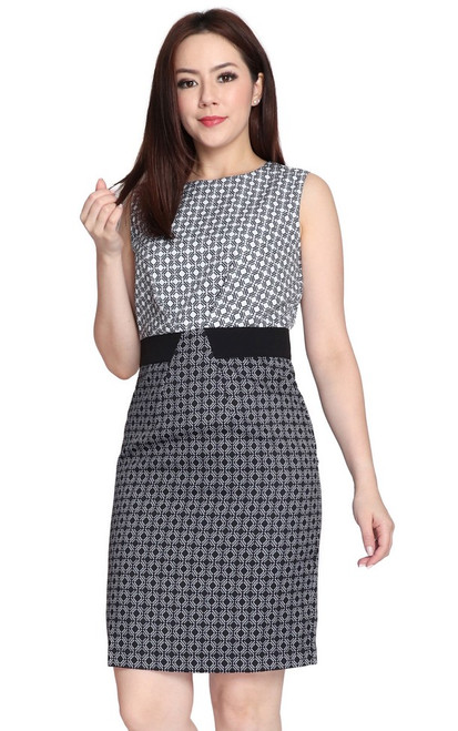 Mosaic Print Pencil Dress - White