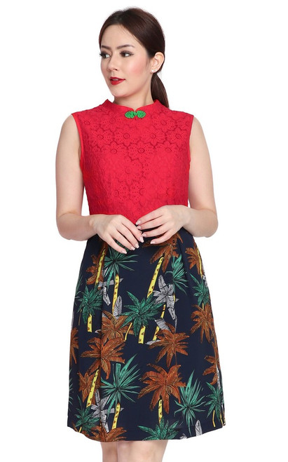 Lace Top Cheongsam - Red
