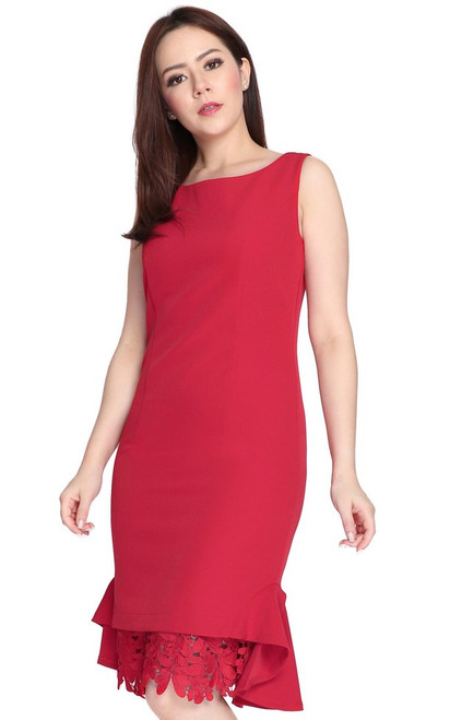 Crochet Flute Hem Dress - Crimson