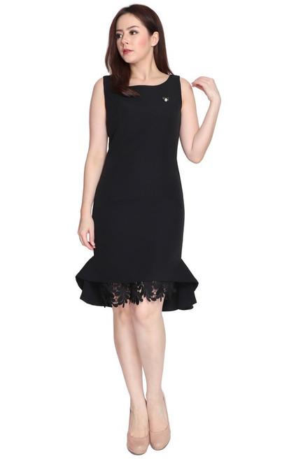 Crochet Flute Hem Dress - Black