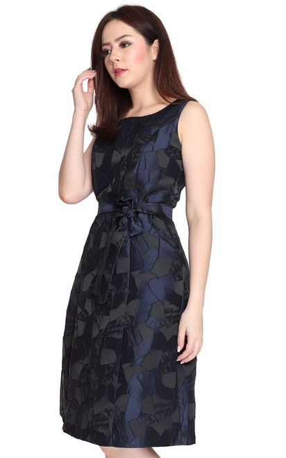 Jewel Tone Brocade Dress - Navy