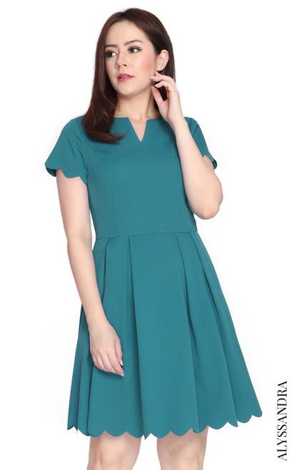 Scallop Hem Pleated Dress - Teal