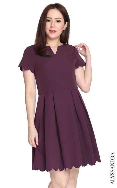 Scallop Hem Pleated Dress - Deep Plum