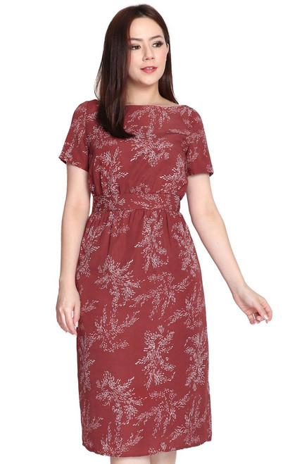 Printed Boat Neck Dress - Burgundy