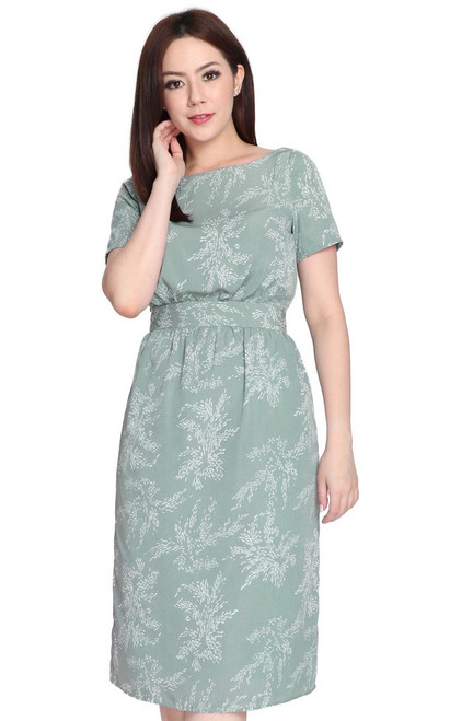 Printed Boat Neck Dress - Dusty Jade