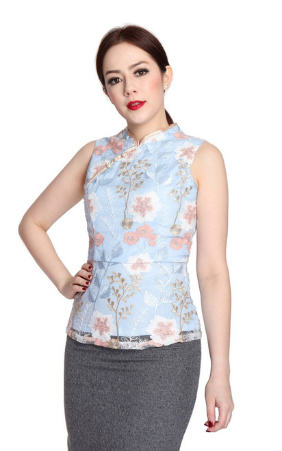 Embroidered Cheongsam Top - Baby Blue