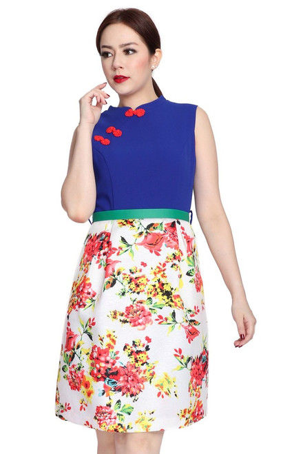 Floral Bottom Cheongsam - Cobalt Blue