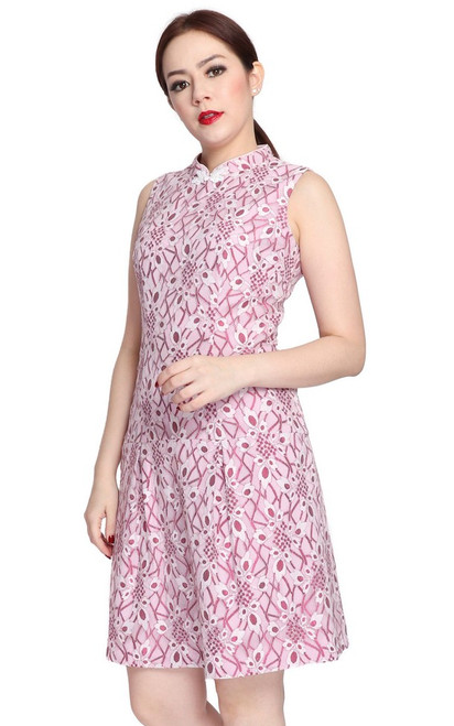 Lace Drop Waist Cheongsam - White