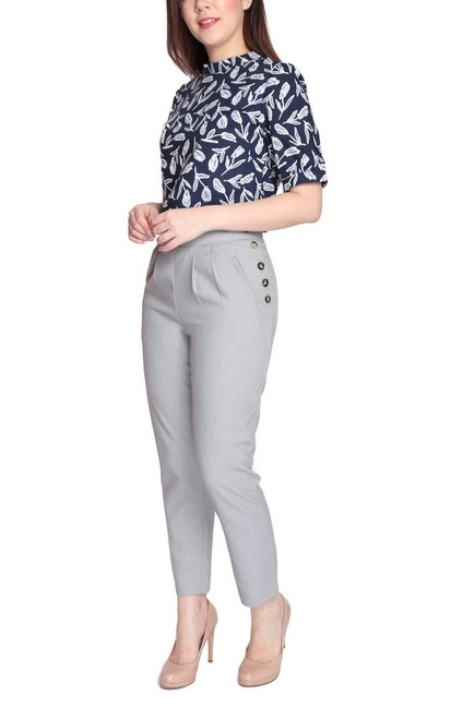 Buttons Tapered Trousers