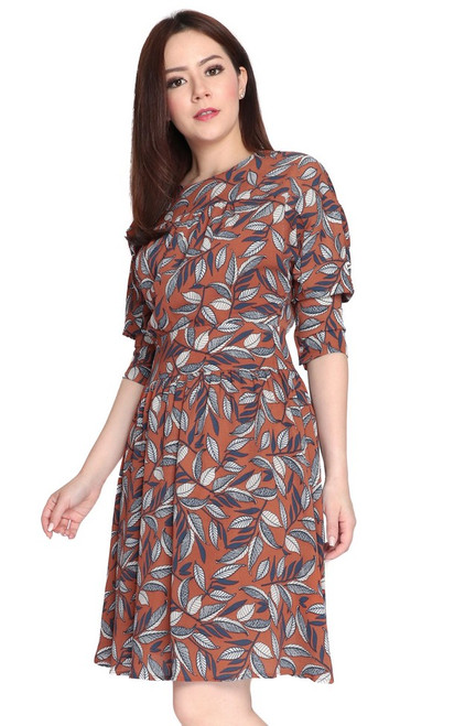 Printed Batwing Sleeves Dress - Cinnamon