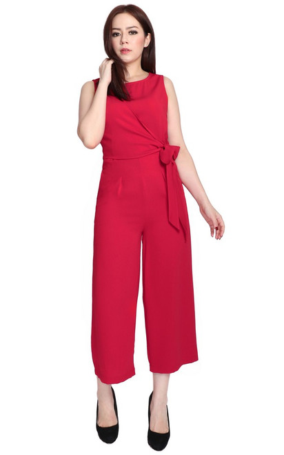 Side Tie Jumpsuit - Red