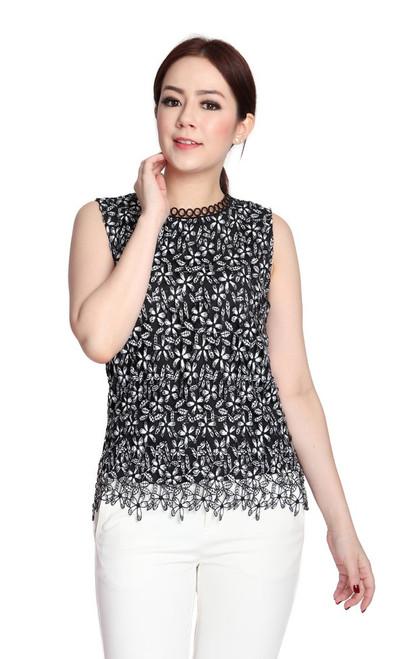 Floral Crochet Lace Top - White