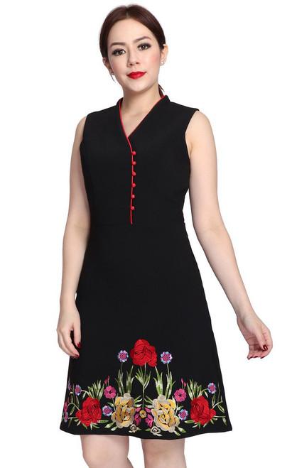 Embroidered High Collar Dress