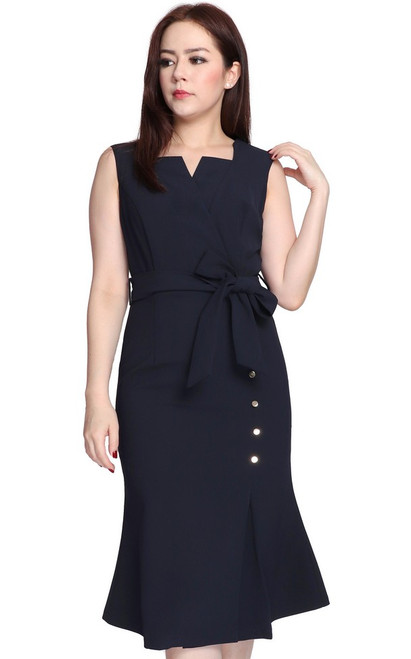 Structured Neckline Dress - Midnight Blue