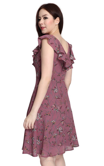 V-Neck Ruffled Dress - Dusty Plum