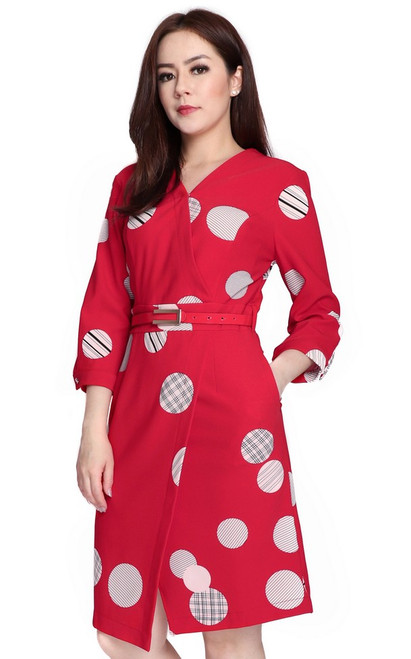 Dotted Wrap Front Dress - Red