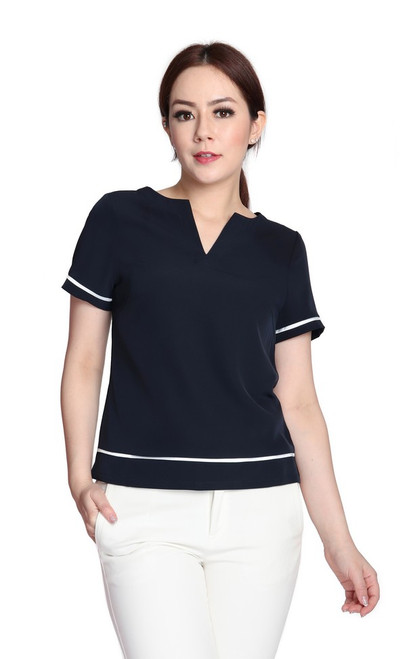 Notch Neck Top - Navy