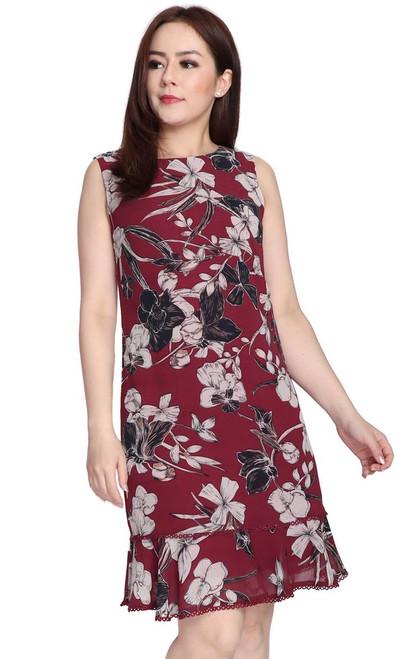 Ruffle Hem Chiffon Dress - Burgundy