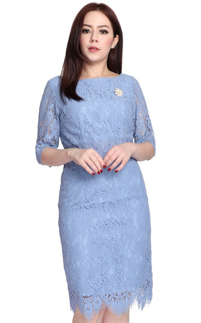 Lace Pencil Dress - Baby Blue