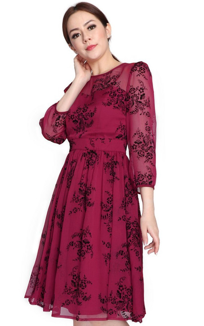 Velvet Motif Chiffon Dress - Wine