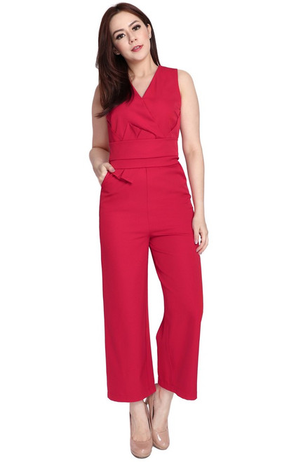Origami Waist Jumpsuit - Red