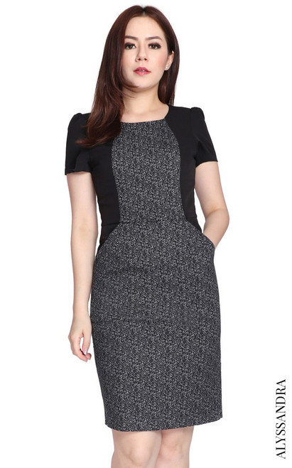 Contrast Herringbone Pencil Dress