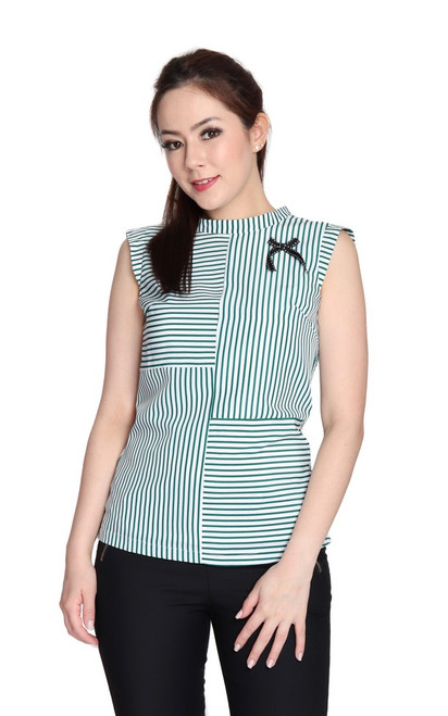 Striped High Collar Top