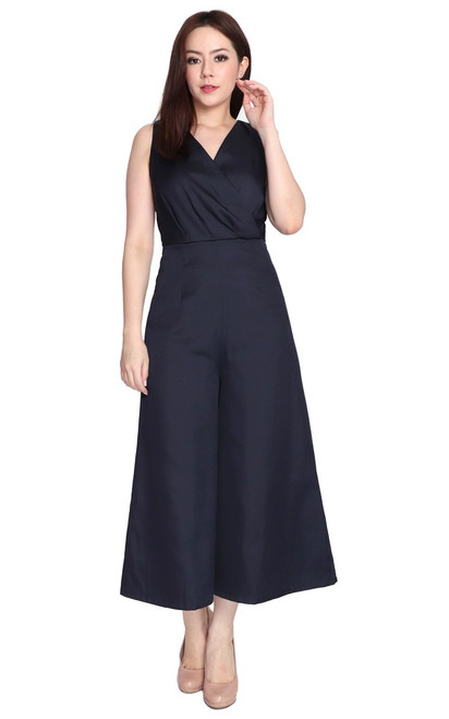 Wide Leg Jumpsuit - Midnight Blue