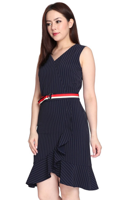 Pinstripe Ruffle Hem Dress - Navy