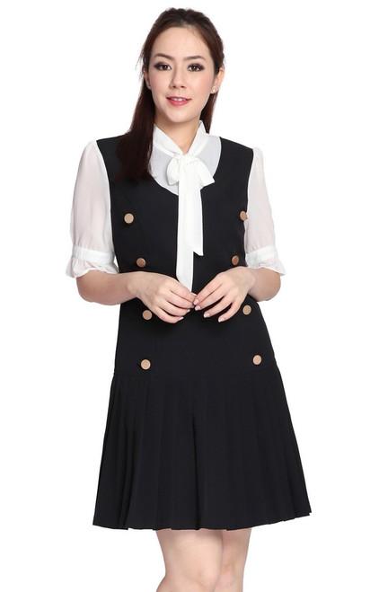 Necktie Pleated Drop Waist Dress - Black