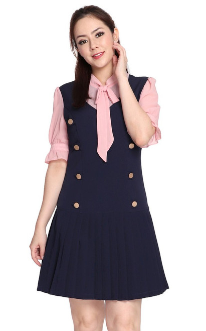 Necktie Pleated Drop Waist Dress - Navy