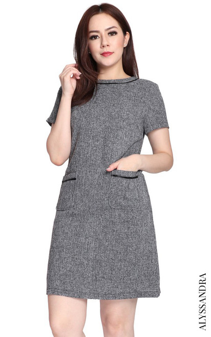 Tweed Pockets Shift Dress - Grey