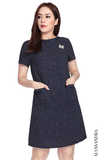 Tweed Pockets Shift Dress - Navy