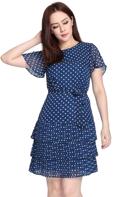 Polka Dot Tiered Dress - Navy