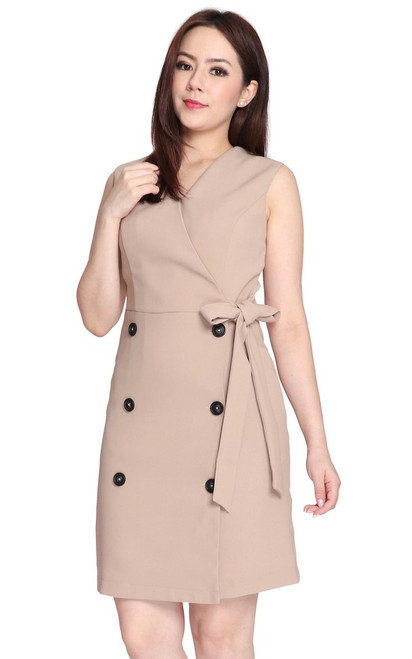 Double Breasted Dress - Khaki