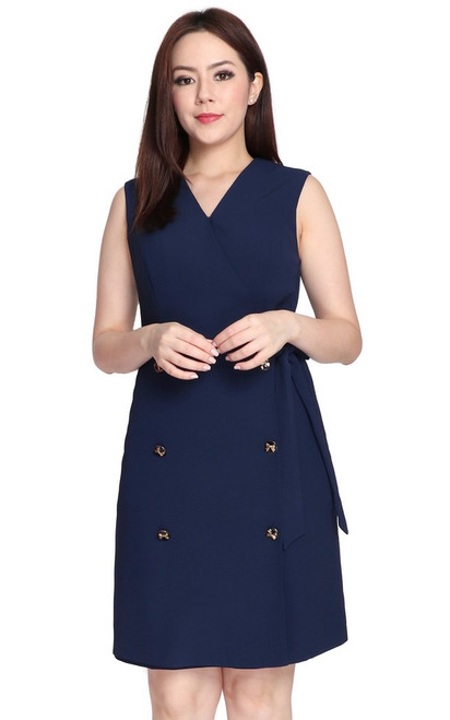 Double Breasted Dress - Navy