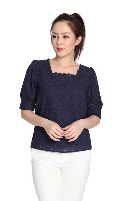 Square Neck Eyelet Top - Navy