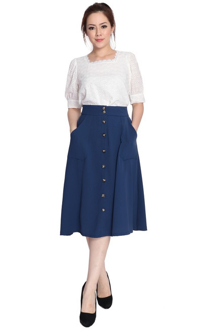 Buttons Flare Skirt - Navy