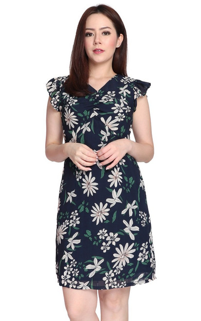 Flutter Sleeves Floral Dress