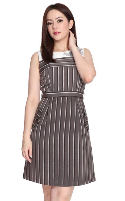 Floral Motif Striped Dress - Grey