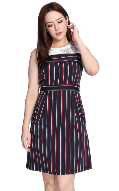 Floral Motif Striped Dress - Navy
