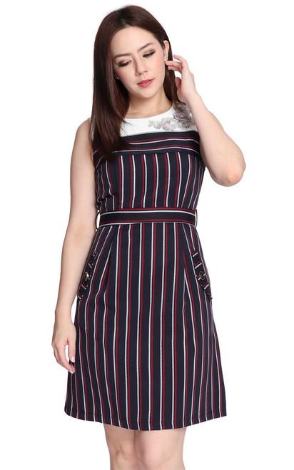 Floral Motif Striped Dress - Navy