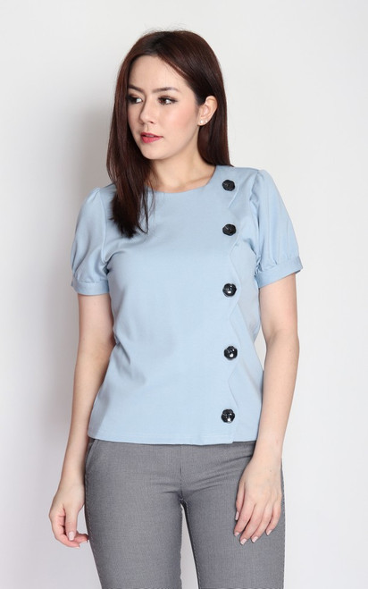 Buttons Scallop Top - Baby Blue