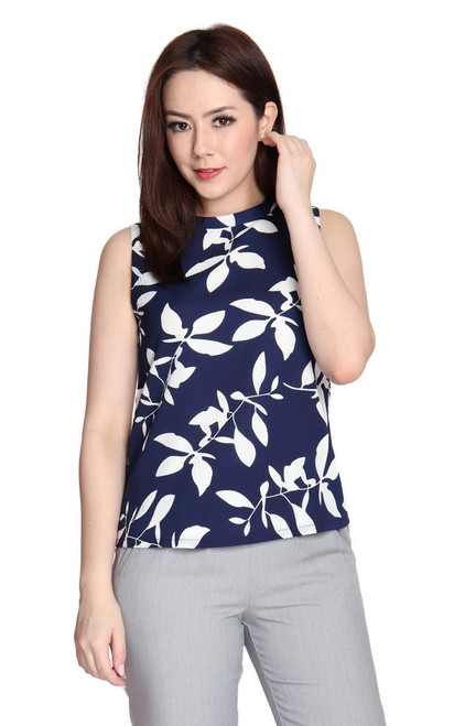 Leaf Print Top - Navy