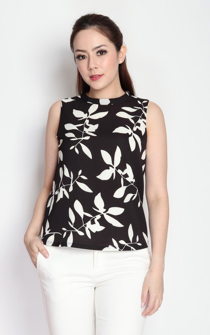 Leaf Print Top - Black