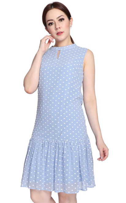 Keyhole Drop Waist Dress - Baby Blue