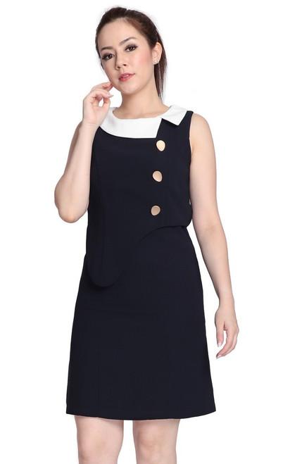 Asymmetrical Peplum Dress - Midnight Blue