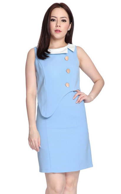 Asymmetrical Peplum Dress - Baby Blue
