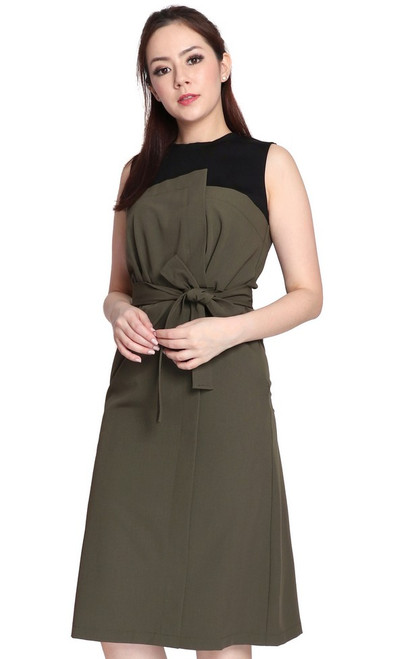 Duo Colour Dress - Olive