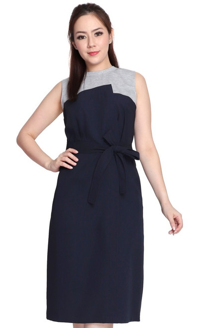 Duo Colour Dress - Navy